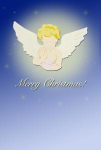 天使のクリスマスカード(PNG)